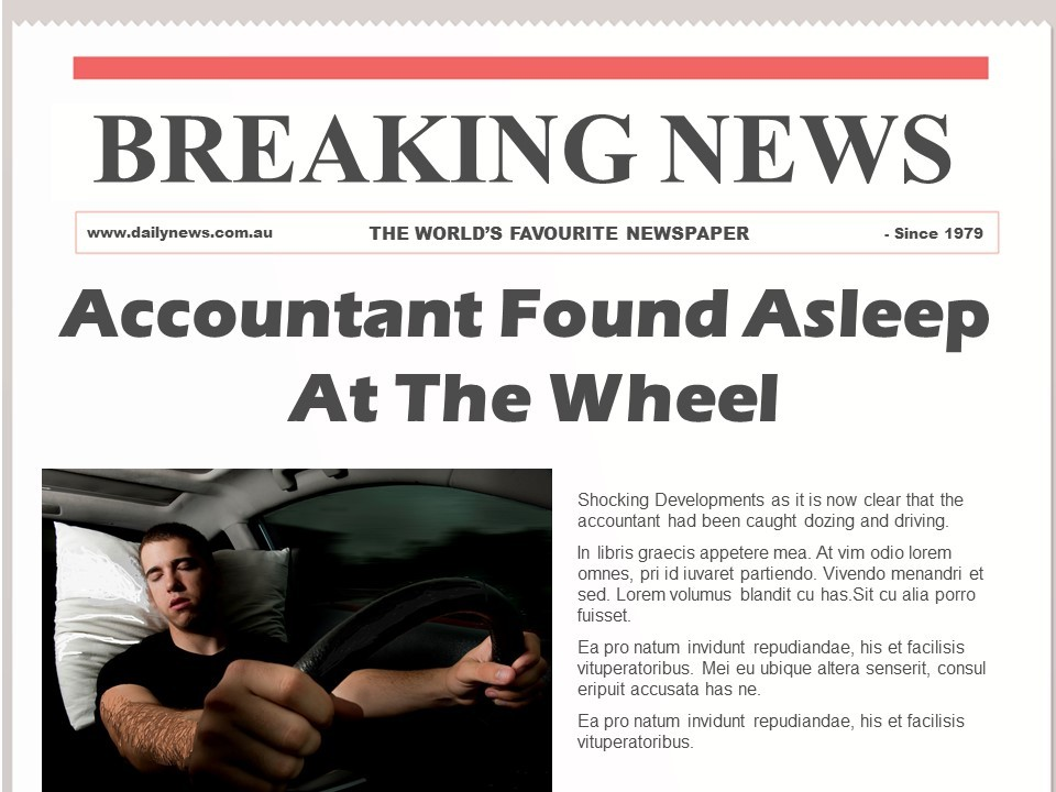 Accountant Found Asleep at the Wheel